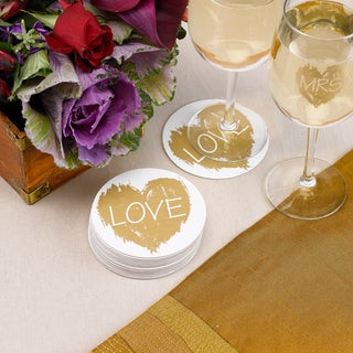 Brush of Love White and Gold-tone Paper Coasters