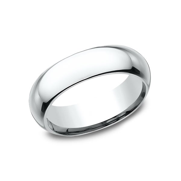 Men's 14k 6mm White Gold High-domed Comfort-fit Traditional Wedding Band - 14K White gold