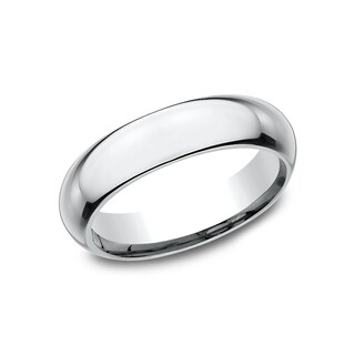 Ladies' 5mm 14k White Gold High-domed Comfort-fit Traditional Wedding Band - 14K White gold
