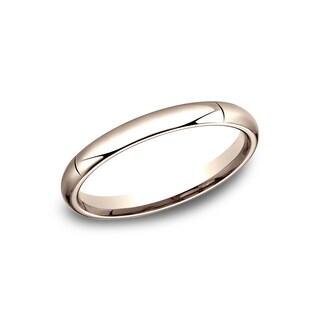 Men's 14k 3mm Rose Gold High-domed Comfort-fit Traditional Wedding Band - 14K Rose Gold
