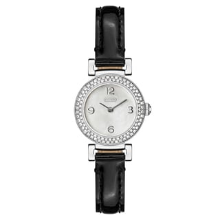 Coach Women's Madison 14501690 Silvertone Black Leather Strap Watch
