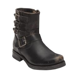 Women's Frye Veronica Belted Short Boot Black Stonewash Leather
