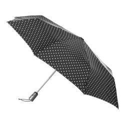 totes Titan Large Auto Open/Close NeverWet Umbrella Black/White Big Swiss Dot
