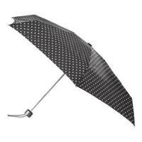totes Titan Mini Manual NeverWet Umbrella Black/White Big Swiss Dot