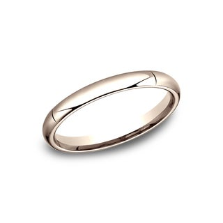 14k Rose Gold High-domed Comfort-fit Traditional Wedding Band (3mm)