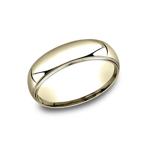 6mm 14k Yellow Gold Comfort-fit Traditional Milgrain Wedding Band - 14k Yellow Gold - 14k Yellow Gold