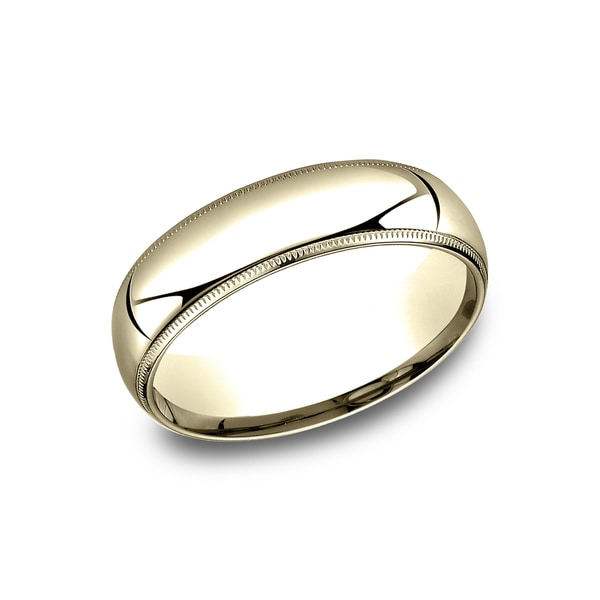 6mm 14k Yellow Gold Comfort-fit Traditional Milgrain Wedding Band - 14k Yellow Gold - 14k Yellow Gold. Opens flyout.