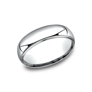Men's 14k White Gold Comfort-fit Milgrain Wedding Band