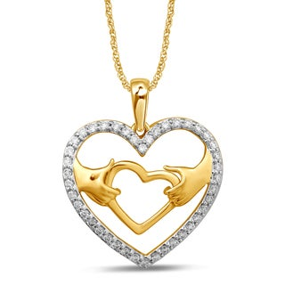 Unending Love 10k Yellow Gold 1/5ct TDW White Diamond Heart Fashion Pendant (I-J, I3)