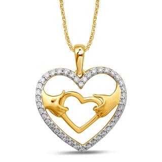 Unending Love 10k Yellow Gold 1/5ct TDW White Diamond Heart Fashion Pendant (I-J, I3)