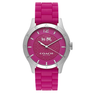 Coach Maddy Stainless Steel Women's Pink Rubber Strap Watch