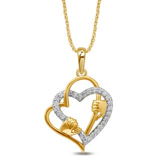 Unending Love 10k Yellow Gold 1/10ct TDW White Diamond Double Heart Fashion Pendant (I-J, I3)