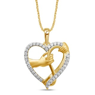 UNENDING LOVE 1/6CT TW 10KT YELLOW GOLD HEART FASHION PENDANT (I-J, I3)