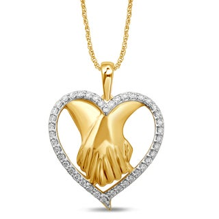 Unending Love 10k Yellow Gold 1/5-ctw IJ I2-I3 Diamond Heart Fashion Pendant