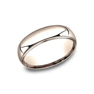 Ladies' 14k Rose Gold 6mm Comfort-fit Traditional Milgrain Wedding Band - 14K Rose Gold