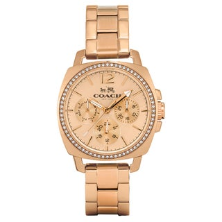 Coach Women's Boyfriend Goldplated Rose-tone Stainless Steel Crystal Accent Japanese Quartz Movement Watch