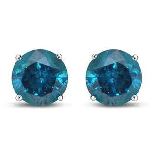 UNENDING LOVE 1-1/2CT 14KT WHITE GOLD 4 PRONG BASKET TREATED BLUE STUD EARRING