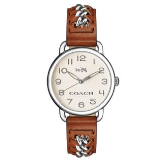 Coach Women's Delancey 14502273 Brown Leather Strap Watch