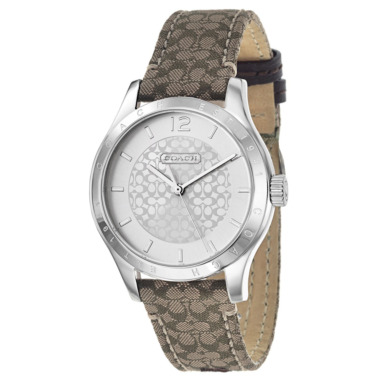 Coach Maddy Brown Fabric and Leather Women's Watch (Watch...