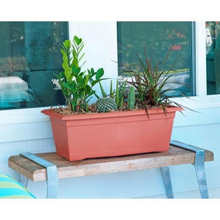 Bloem Veranda Terra Cotta Orange Plastic 26-inch Deck Box Planter