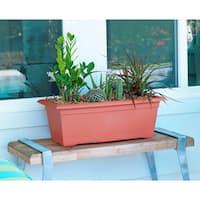 Bloem Veranda Terra Cotta Orange Plastic 26-inch Deck Box Planter