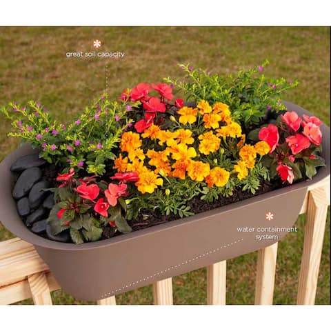 Bloem Modica Chocolate Plastic 24-inch Deck Rail Planter
