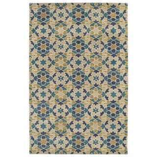 Hand-Tufted Lola Mosaic Sand Wool Rug (8'0 x 11'0)