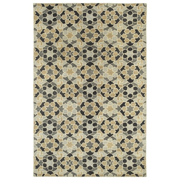 Hand-Tufted Lola Mosaic Charcoal Wool Rug - 2' x 3'