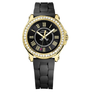 Juicy Couture Pedigree Goldtone and Black Rubber Women's Watch