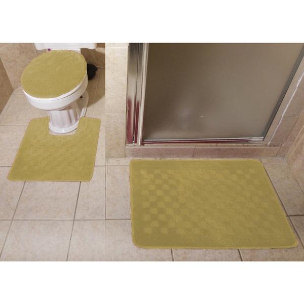 Checkered Bath Rug: Shop 3-piece Checkerboard Design Bathroom Rug Set
