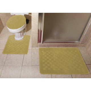 3-piece Checkerboard Design Bathroom Rug Set