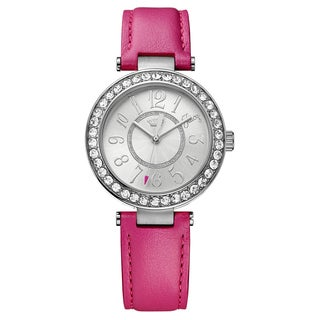 Juicy Couture Women's Cali 1901395 Silver Dial PInk Leather Strap Watch