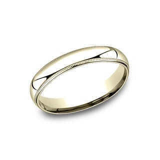 Men's 14k 4mm Yellow Gold Comfort-fit Traditional Milgrain Wedding Band