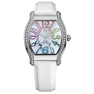 Juicy Couture Dalton Stainless Steel w/ White Leather Strap Crystal and Mother-of-Pearl Watch