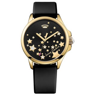 Juicy Couture Fergie Black Rubber and Goldtone Stainless Steel Women's Watch