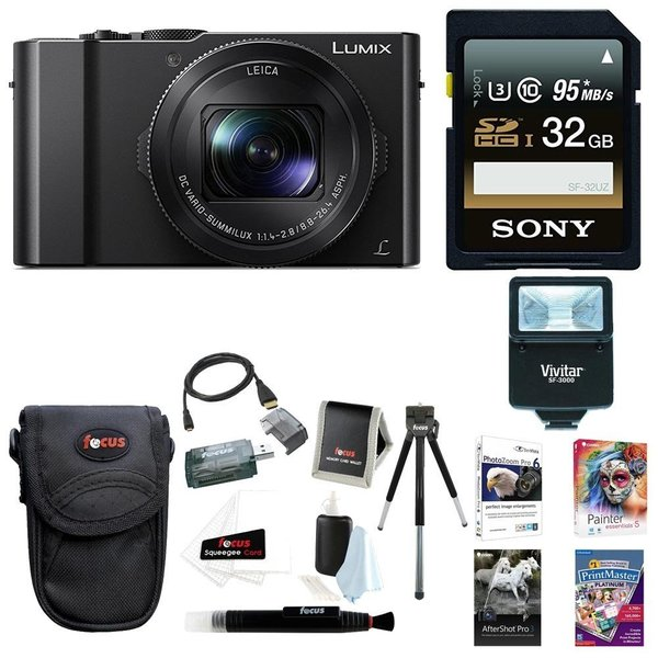 Panasonic LUMIX LX10 4K 20MP Digital Camera w/ 64GB SD Card & Corel Suite Bundle
