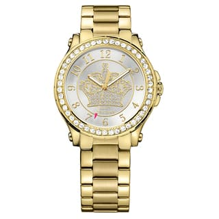 Juicy Couture Women's Pedigree Goldplated Silvertone Dial Crystal Accent Japanese Quartz Movement Watch|https://ak1.ostkcdn.com/images/products/14200207/P20795459.jpg?impolicy=medium