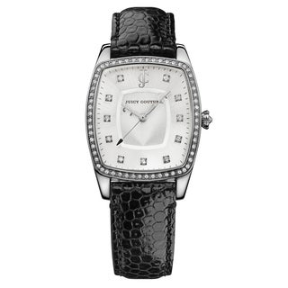 Juicy Couture Women's The Beau Stainless Steel Case Crystal Accent Leather Strap Japanese Quartz Movement Watch