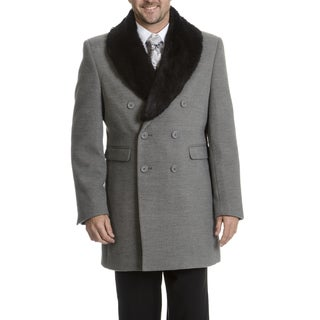Blu Martini Men's Double-Breasted Wool Top Coat 50R Size in Black (As Is Item)