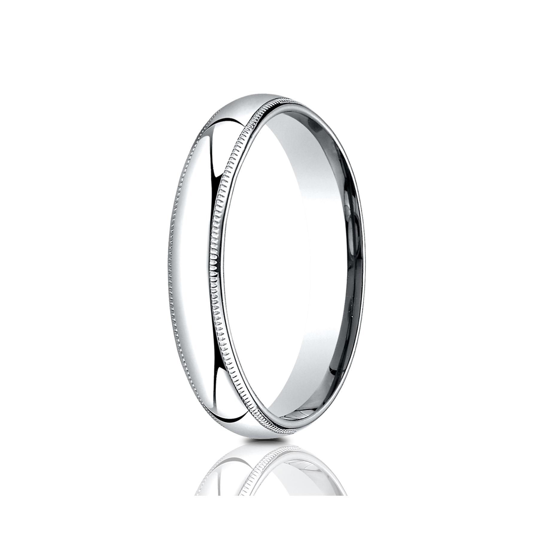 Ladies or Mens Comfort Fit 4mm Milgrain Wedding Band in Silver