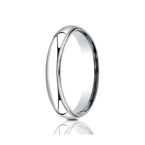 14k Yellow or White Gold 4mm Plain Milgrain Wedding Band