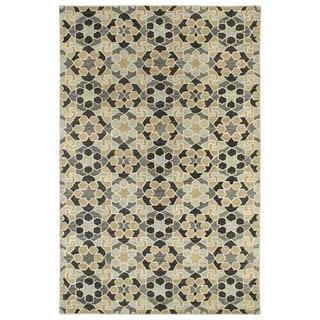 Hand-Tufted Lola Mosaic Charcoal Wool Rug (5'0 x 7'9)