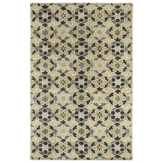 Hand-Tufted Lola Mosaic Charcoal Wool Rug (8'0 x 11'0)