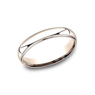 14k Rose Gold 4-millimeter Comfort-fit Milgrain Women's Wedding Band