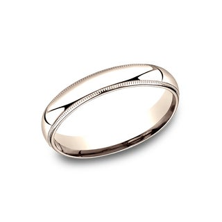 Ladies' 4mm 14k Rose Gold Comfort-fit Milgrain Wedding Band - 14K Rose Gold