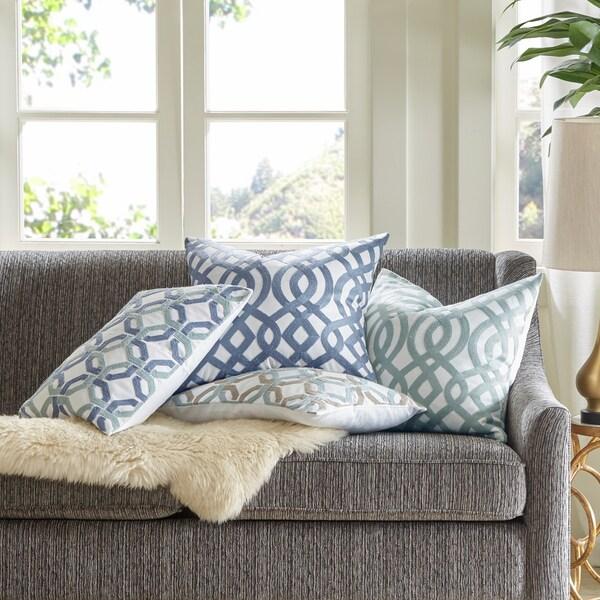 Madison Park Signature Trellis Cotton Embroidered Square Pillow