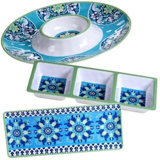 Certified International Granada Blue and White Melamine Hostess Serving Set (Pack of 3)