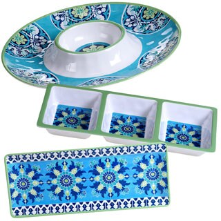 Certified International Granada Blue and White Melamine Hostess Serving Set (Pack of 3)