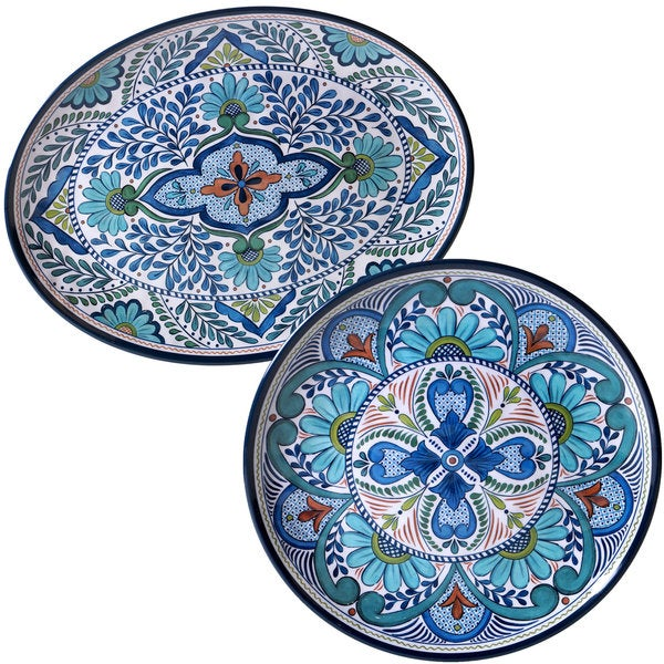 Certified International Nancy Green 'Talavera' Floral Platters (Set of 2)