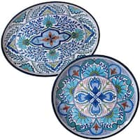 Certified International Nancy Green 'Talavera' Floral White, Blue, and Green Melamine Round and Oval Platter Set (Set of 2)